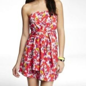 Express Floral Printed Strapless Dress